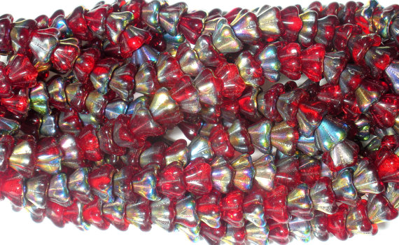 Czech Glass Bell Flower Beads Vitral Siam Ruby 8x6